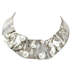 Vintage Sterling Silver Napkin Necklace With Large Cultured Pearl Decoration