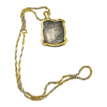 18k Yellow & White Gold Necklace w/ Antique Silver Spanish Cob/Macuquina Coin in 18k Yellow Gold Setting