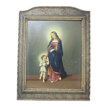 19th Century Framed, Hand Painted Tin Plaque, Holy Mother And Child