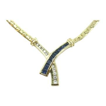 "18K 750 Yellow Gold Necklace w/ Diamonds & Sapphires 14"""