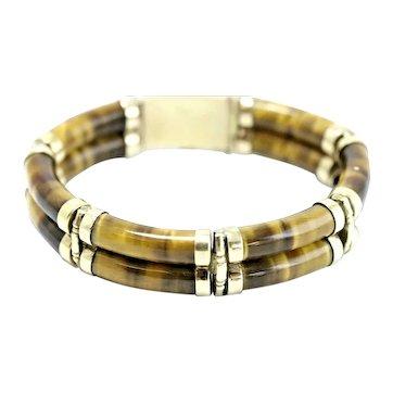 Vintage 70s 14k Gold Bamboo-Style Bracelet w/Tiger's Eye Links, Boho/Hippie