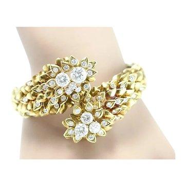 "Custom Crafted 18k Yellow Gold & Diamond Cuff Bangle Bracelet, 9.25 cttw, 6.5"""
