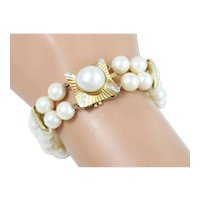 Fine 14k Yellow Gold Diamond and Pearl Double-Strand Bracelet