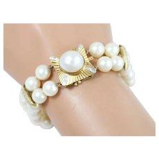 Fine 14k Yellow Gold Diamond and Pearl Double-Strand Bracelet