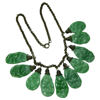 1930s Art Deco Bib Necklace Faux Jade French Green Poured Glass Drops