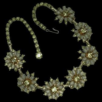 1950s Signed Hattie Carnegie Necklace Opaline and Lemon Glass Rhinestones Bridal Necklace Wedding Jewelry