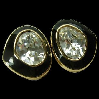 1980s Christian Dior Earrings Headlight Stones Black Enamel Couture French Brilliant Rhinestones