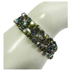 1960s Signed Schreiner Bracelet Green Blue Poured Glass Brilliant Stones