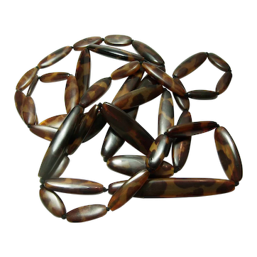 Huge Monies Horn Necklace 84 Inches Animal Pattern Statement Gerda Lynggaard
