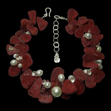 Vintage Studio Necklace Red Sponge Coral Rock Crystal Pearls Sterling Silver
