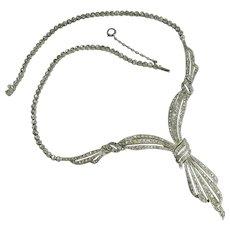1920s Fishel Nessler Sterling Silver Paste Necklace Rhinestones Art Deco Bridal Jewelry Wedding Necklace