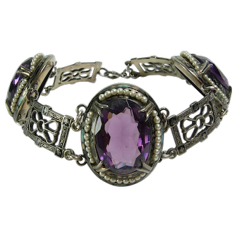 Antique Edwardian Sterling Silver Bracelet Enamel Arts & Crafts Purple Stones