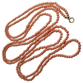 Victorian Edwardian Salmon Coral Necklace Muff Chain 4mm Beads 61 Inches 40 Grams Natural Undyed
