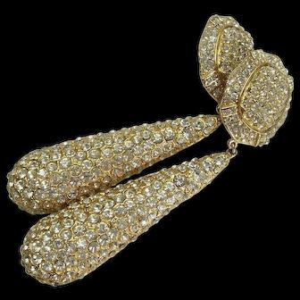 1970s Runway Earrings Pave Rhinestones Heavy Cast Goldtone Metal 4+ Inches Statement Earrings