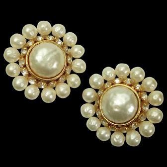1980s Runway Dominique Aurientis Paris Earrings Faux Pearls Brilliant Rhinestones