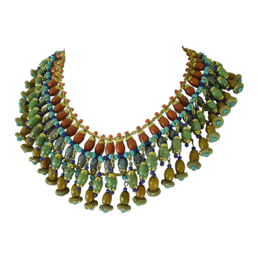 60s French Glass Collier Huge Necklace Simulated Jade Amber Coral Turquoise Egyptian Style
