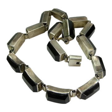 1970s Mexican Sterling Silver Black Onyx Heavy Link Necklace Modernist Minimalist