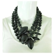 Runway 1980s Couture Necklace Carved Black Lucite Black Rondelles 3 Inch Center