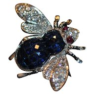 Sapphire, ruby and Diamond Bee Brooch set in 18K White Gold