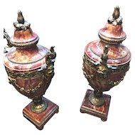 Pair of Marble Urns in the French Manner (Ormolu Mounted Red Variegated)