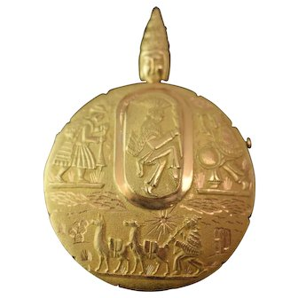 18 K Yellow Gold Peruvian Pendant/Pin Decorated in Ancient & Modern Figures