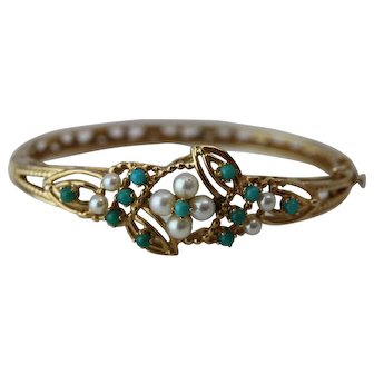 Victorian Style 14k Yellow Gold Hinged Bangle Bracelet with Turquiose and Pearls