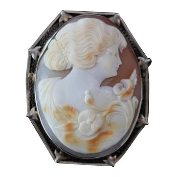 14k Yellow Gold Large Shell Cameo Portrait Carving Pin/Pendant