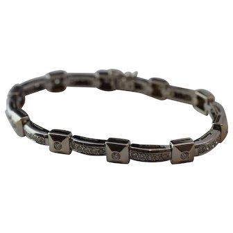 18k White Gold Diamond Bracelet Set with 3mm. Diamonds 2.8 ct. tw.