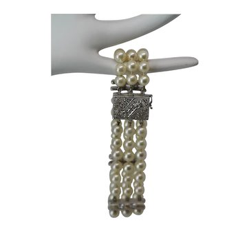 14k White Gold 3 Strand Pearl Set Bracelet with Diamonds