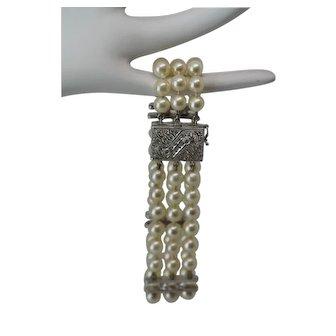 14k White Gold 3 Strand Pearl Set Bracelet with Diamonds