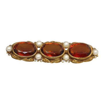 18k Yellow Gold Victorian arts & Crafts 3 Stone Citrine & Pearl Set Line Pin