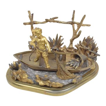 19th Century French Ink Stand Pen Holder - Boy Fishing