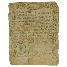 RARE 1775 Massachusetts 1 Shilling Paul Revere Sword in Hand Note