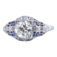 Original 1.35ct center Art-Deco Diamond Ring, set in Platinum