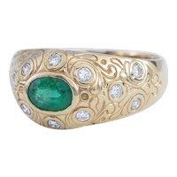 Bvlgari-style Ring with Emerald and Diamonds set in 14 Karat Gold, circa 1990