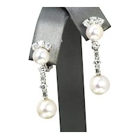 EXQUISITE Akoya Pearl and 1.30ctw Diamond Dangle Earrings 18k White Gold