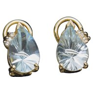 5.0ctw Fantasy Cut Blue Topaz and Diamond Accent French Clip On Earrings 14k