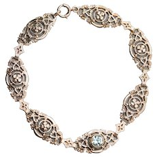 1.00ct Victorian Blue Zircon 10k Rose Gold Link Bracelet