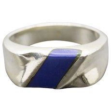 Taxco Blue Lapis Sterling Silver Unisex Ring Size 8.5