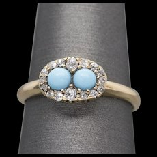 Victorian Persian Turquoise 0.10ctw Diamond Halo Ring 14k Yellow Gold
