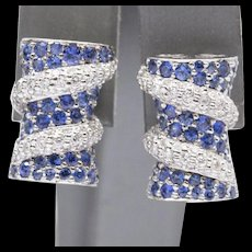 3.00ctw Natural Blue Sapphire and Diamond 18k White Gold Earrings