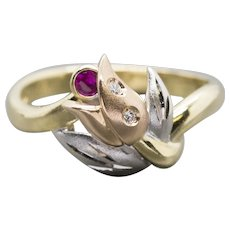 0.10ctw Ruby and Diamond 3-Toned 14k Gold Tulip Ring Size 8
