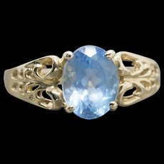1.50ct Blue Topaz 14k Yellow Gold Bow Detail Solitaire Ring Size 7
