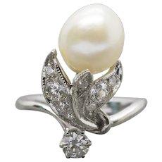 Vintage Art Nouveau Akoya Pearl and 0.78ctw Diamond 14k White Gold Cocktail Ring