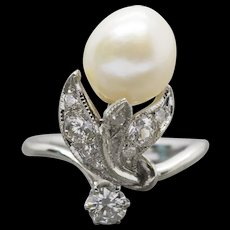 Vintage Art Nouveau Akoya Pearl and 0.78ctw Diamond 14k White Gold Cocktail Ring