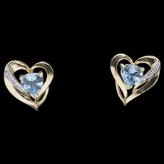 2.00ctw Blue Topaz with Diamond Accent 14k Yellow Gold Heart-Shaped Earrings