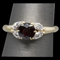 1.60ctw Garnet and Marquise Diamond 14k Yellow Gold Ring