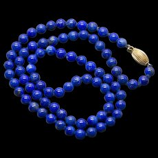 Lapis 14k Yellow Gold Beaded Necklace 18""