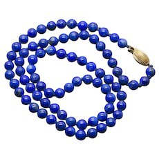 """Lapis 14k Yellow Gold Beaded Necklace 18"""""""