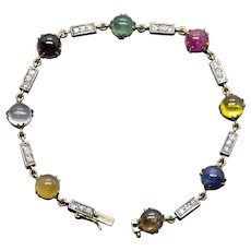 Antique Siam Thai Ruby Emerald Sapphire Diamond 14k Bracelet